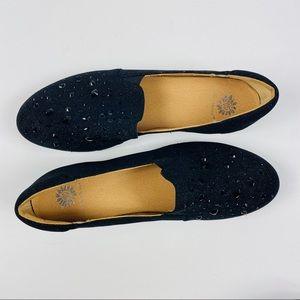 Yellow Box | Black Platform Sparkly Studded Shoes